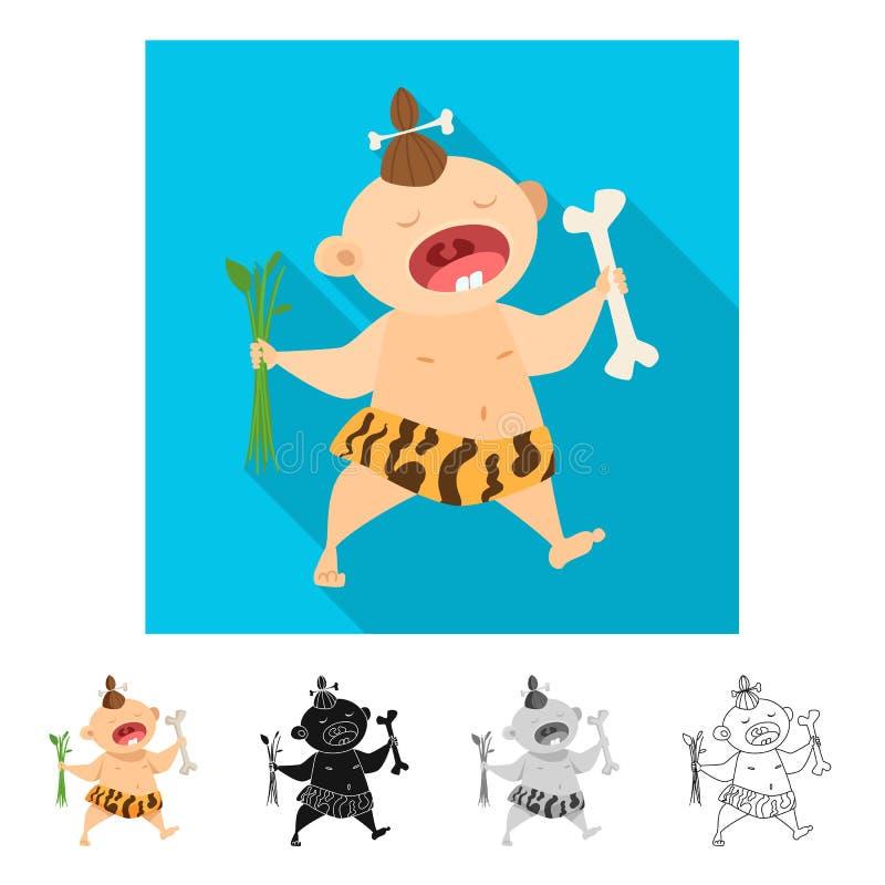 Ilustração do vetor da criança e do sinal pré-histórico Ajuste da criança e da ilustração conservada em estoque doce do vetor ilustração stock