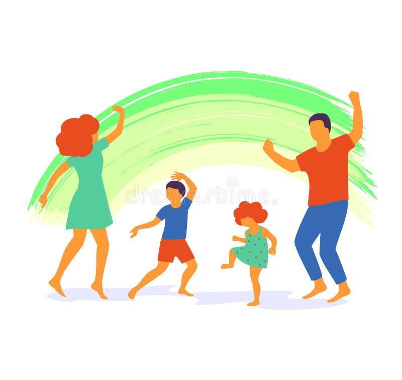 Ilustração do vetor da dança feliz da família, projeto liso ilustração do vetor