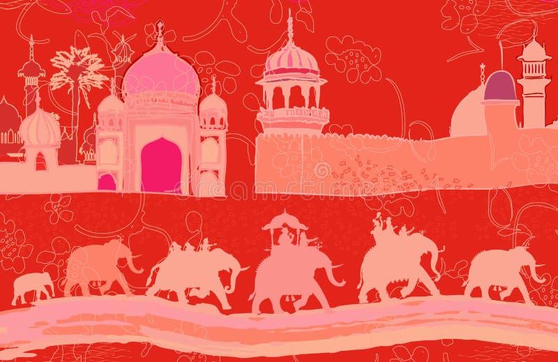 Decoração indiana com elefantes ilustração stock