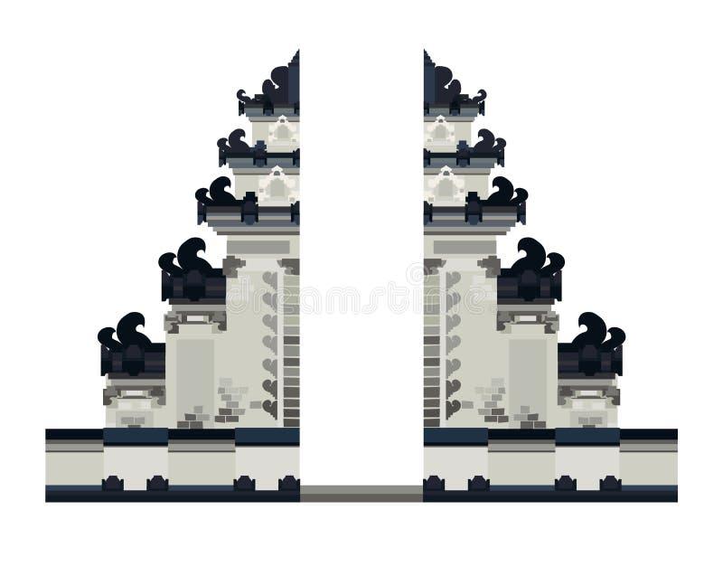 Ilustração do vetor da entrada do templo de Bali Paisagem nacional, porta em Bali, Indonesi ilustração royalty free