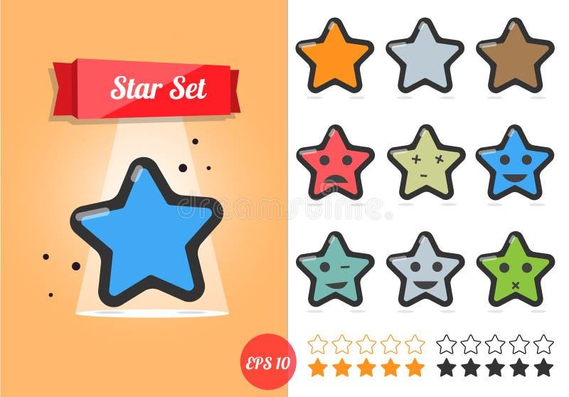 Ilustração do vetor da estrela ajustada no fundo branco Um estilo dos desenhos animados ilustração stock