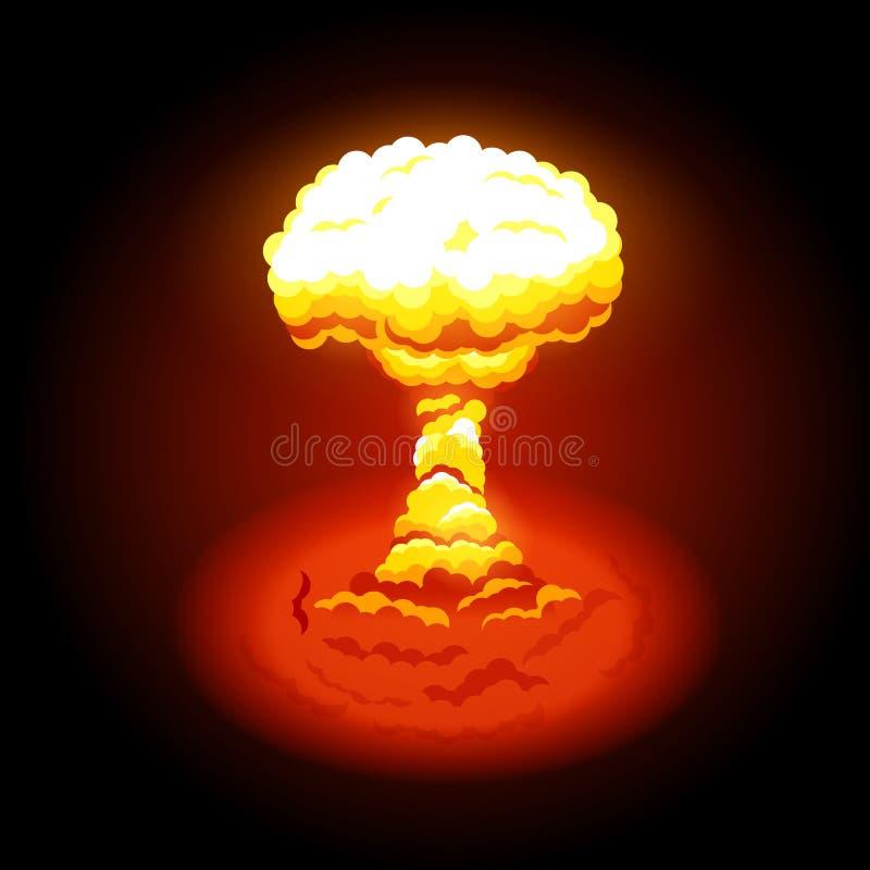 Ilustração do vetor da explosão nuclear brilhante Símbolo da protecção ambiental e os perigos da energia nuclear ilustração stock