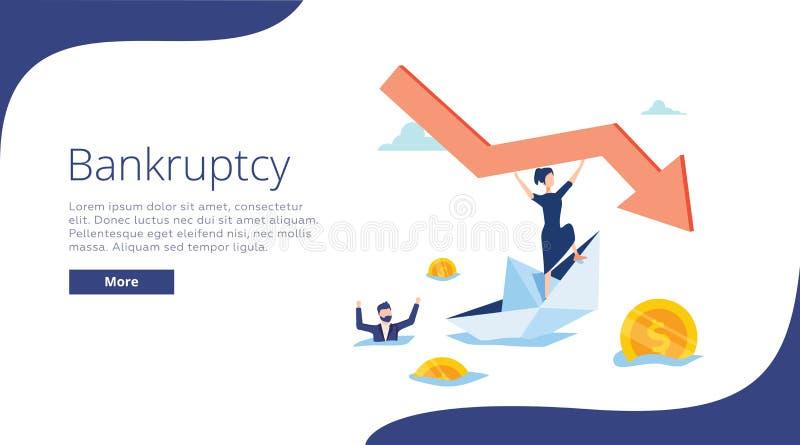 Ilustração do vetor da falência Conceito minúsculo liso da pessoa com empresa lisa Processo de negócios de naufrágio na crise ilustração stock