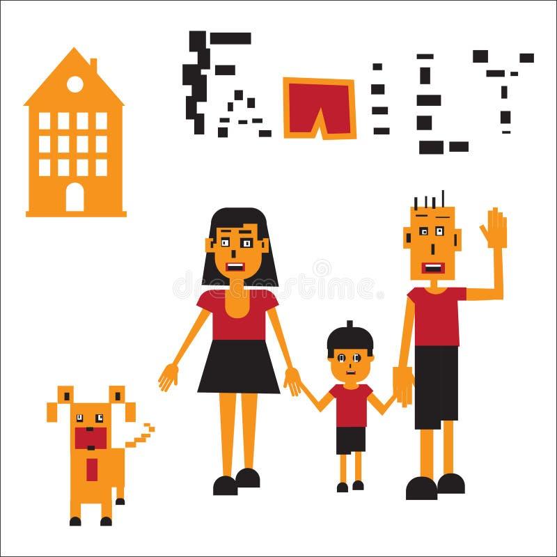 Ilustração do vetor da família robótico ilustração stock
