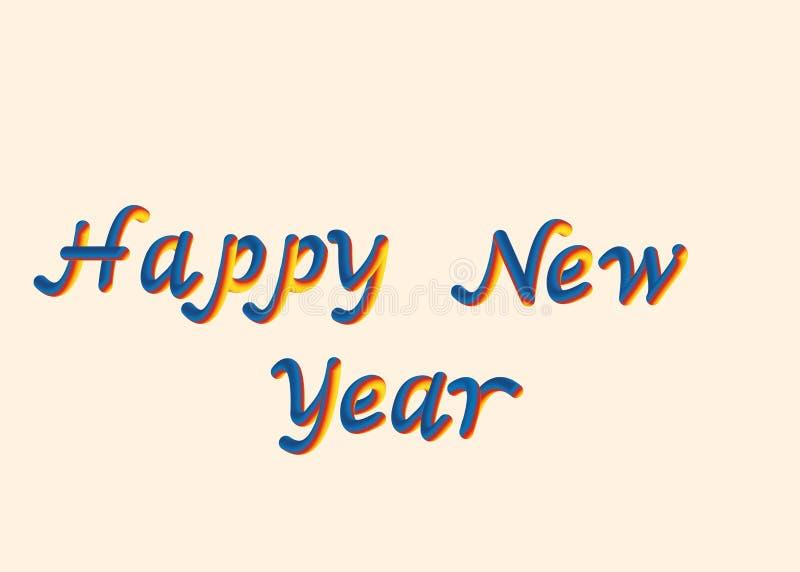 Ilustração do vetor da fonte do ano novo feliz com letras 3D que rotula a fonte da bolha da rendição do estilo Colora o vermelho  ilustração stock