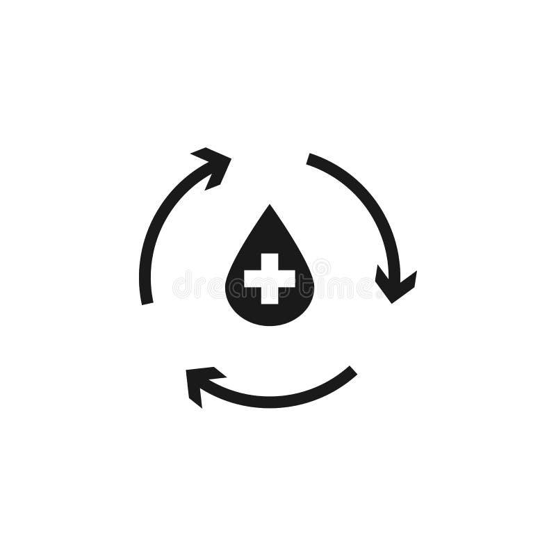 Ilustração do vetor da forma com setas e gotas de sangue Conceito cardiovascular do tratamento da doença para o uso como o cardio ilustração stock