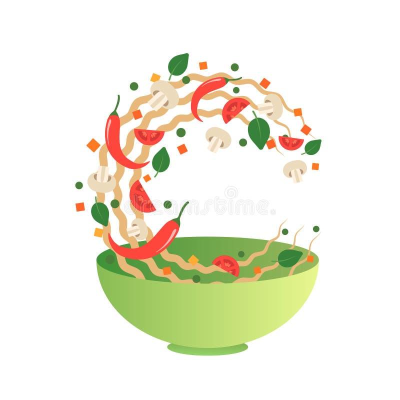 Ilustração do vetor da fritada da agitação Lançando macarronetes asiáticos com vegetais em uma bacia verde Estilo dos desenhos an ilustração do vetor