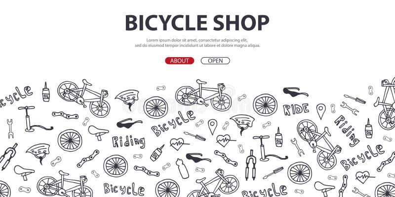 Ilustração do vetor da garatuja da bicicleta Conceito do estilo de vida e da aventura biking para bandeiras da Web, materiais imp ilustração do vetor