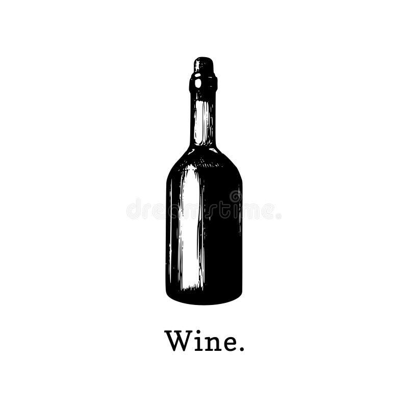 Ilustração do vetor da garrafa de vinho Entregue o esboço tirado da bebida alcoólica para o café, etiqueta da barra, menu do rest ilustração royalty free