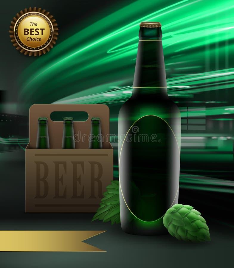 Ilustração do vetor da garrafa e de lúpulos verdes de cerveja com a fita da embalagem e do ouro com recompensa no fundo da cidade ilustração do vetor