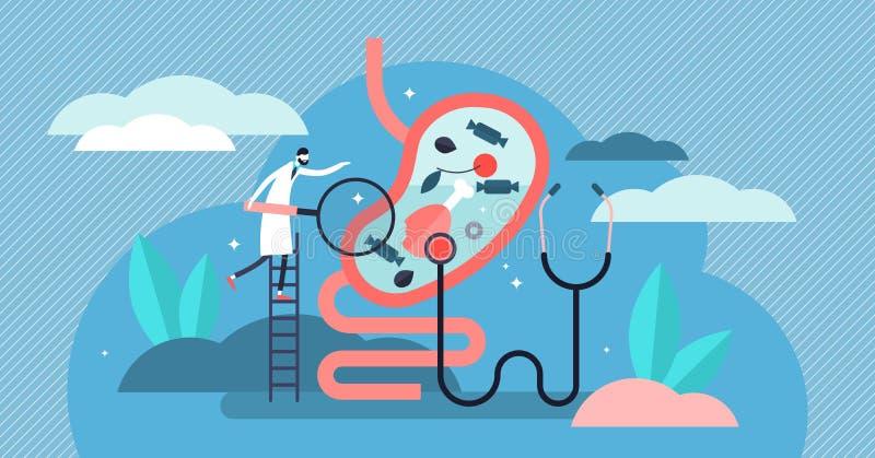 Ilustração do vetor da gastroenterologia Conceito minúsculo das pessoas do doutor do estômago ilustração stock