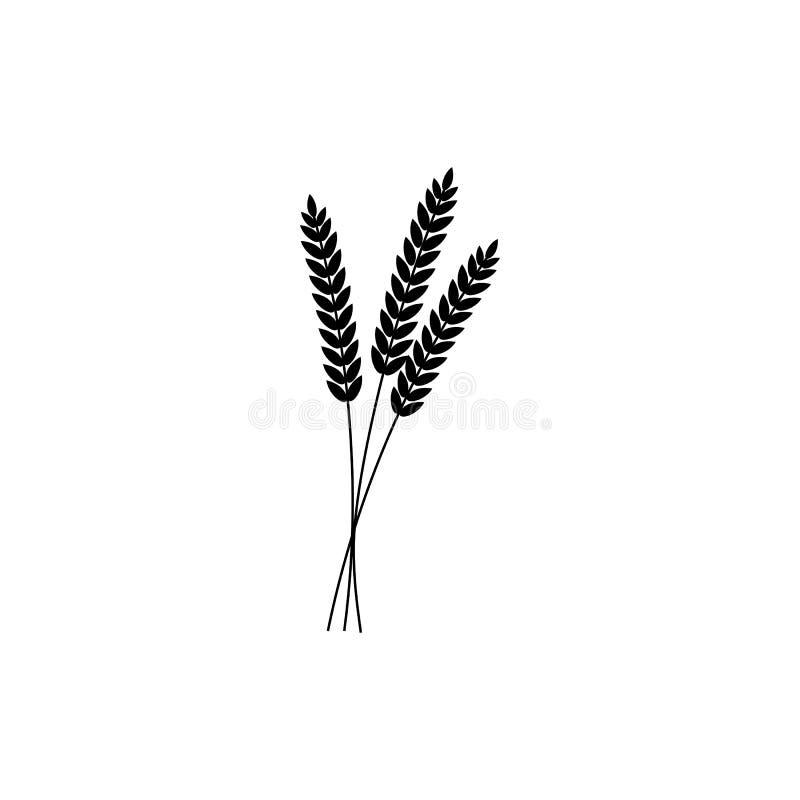 Ilustração do vetor da grão inteira das orelhas do trigo, do centeio ou da cevada, ícone preto do símbolo da silhueta isolado no  ilustração royalty free