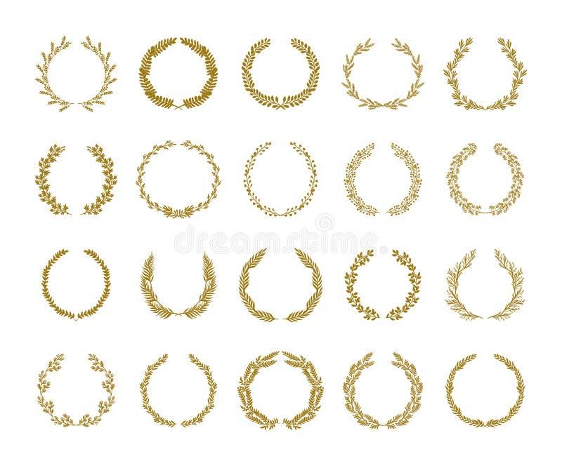 Ilustração do vetor da grinalda da folha do louro do ouro ajustada no fundo branco ilustração royalty free