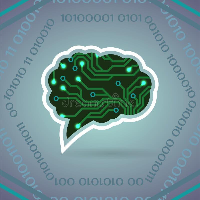 Ilustração do vetor da inteligência artificial da placa de circuito em claro - cinzento ilustração stock