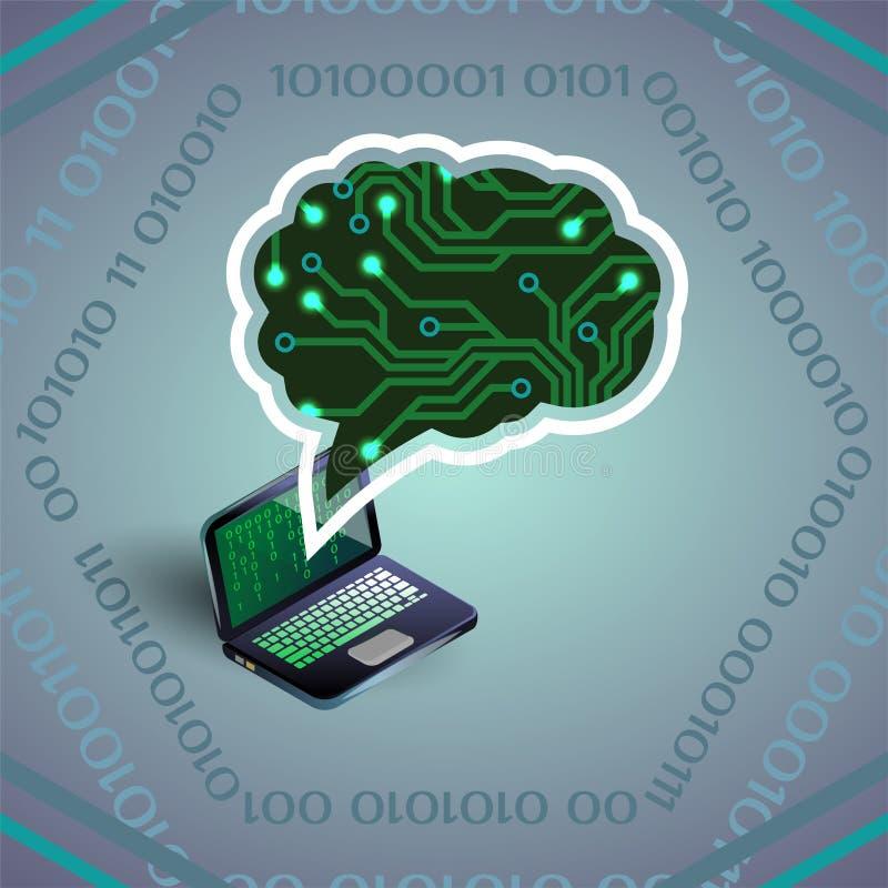 Ilustração do vetor da inteligência artificial da placa e do portátil de circuito na luz - cinzenta ilustração royalty free