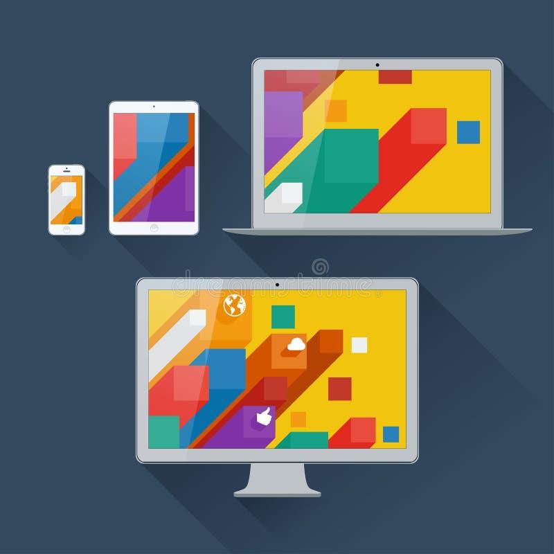 Ilustração do vetor da interface de utilizador em dispositivos digitais ilustração royalty free