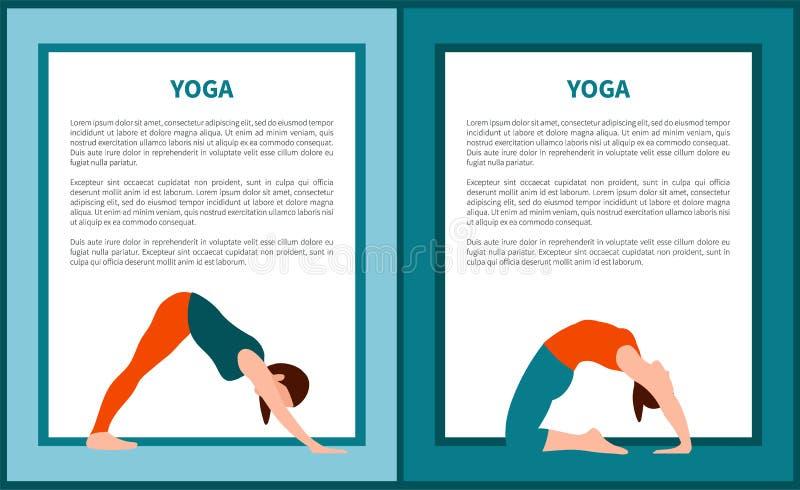 Ilustração do vetor da ioga, mulher em várias poses ilustração stock