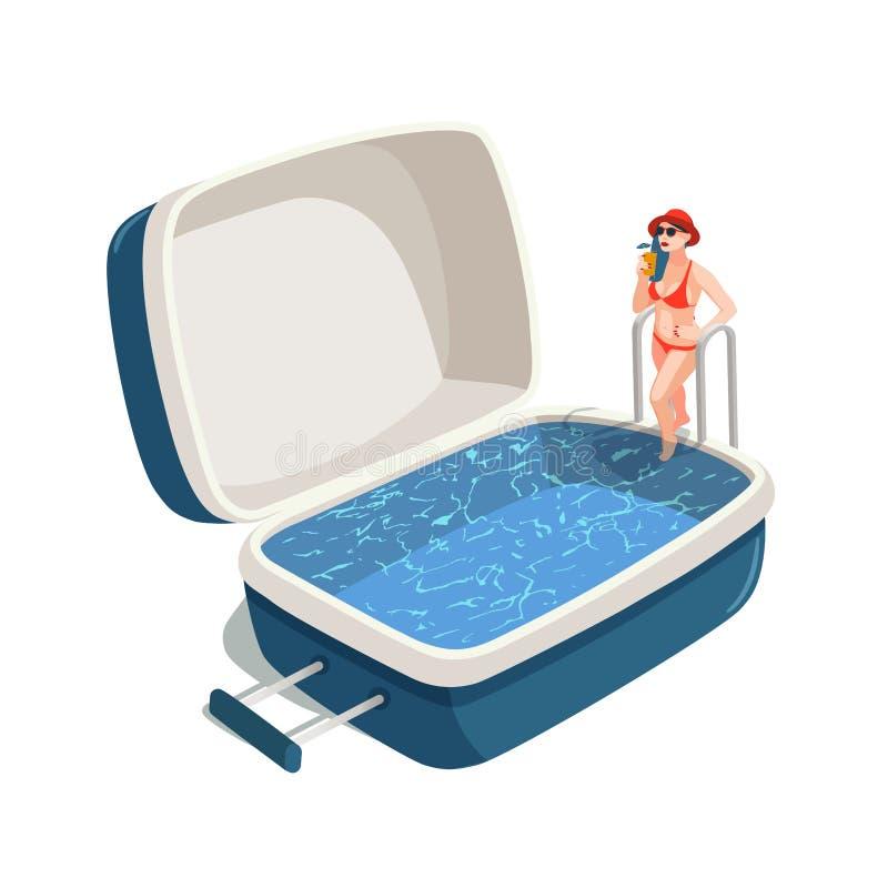 Ilustração do vetor da jovem mulher com um cocktail, pisando na piscina na mala de viagem aberta Curso ilustração royalty free