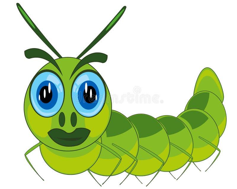 Ilustração do vetor da larva dos desenhos animados da lagarta ilustração royalty free