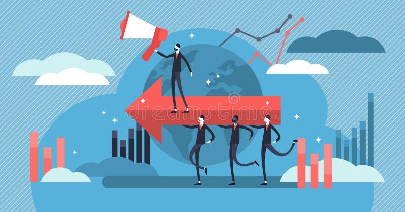 Ilustração do vetor da liderança Pessoas minúsculas lisas conceito ou trabalhos de equipe do grupo ilustração do vetor