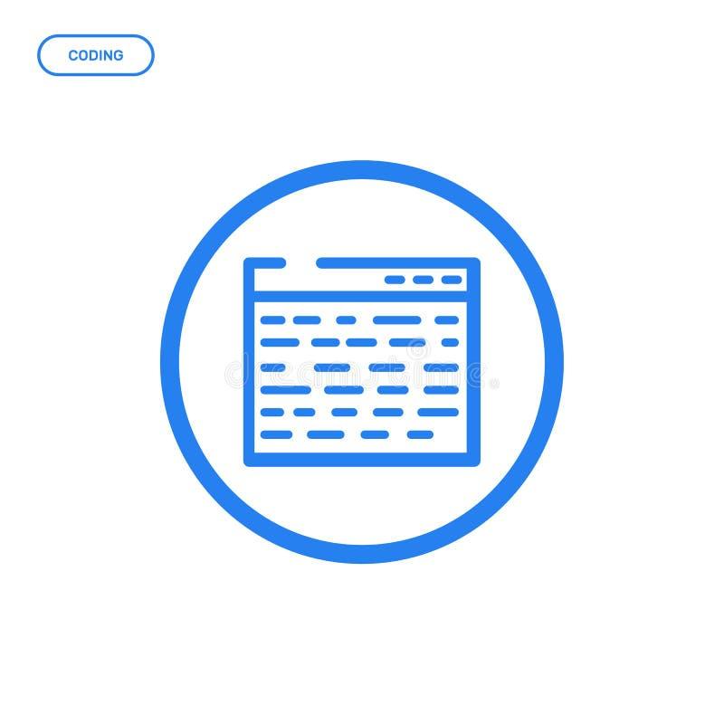 Ilustração do vetor da linha lisa ícone Conceito de projeto gráfico da codificação da Web ilustração stock