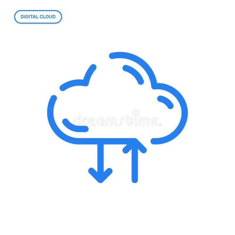 Ilustração do vetor da linha lisa ícone Conceito de projeto gráfico do armazenamento digital da nuvem ilustração do vetor