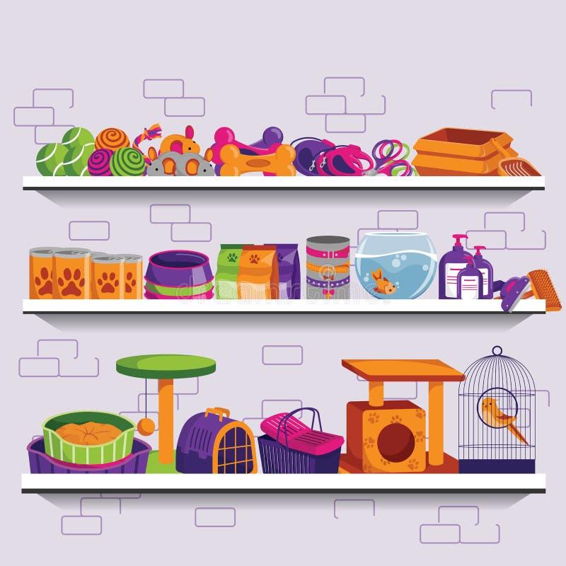 Ilustração do vetor da loja de animais de estimação Prateleiras do mercado com alimento, fontes, acessórios e brinquedos para cãe ilustração stock