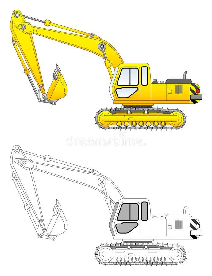 Ilustração do vetor da máquina escavadora ilustração stock