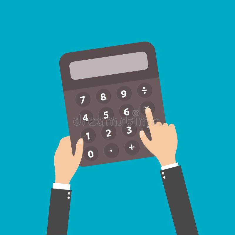 Ilustração do vetor da mão do contador do homem de negócio da calculadora ilustração royalty free