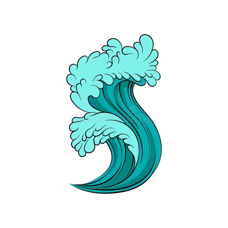 Ilustração do vetor da maré do mar alto Onda de oceano azul brilhante com contorno preto Tema marinho ilustração do vetor