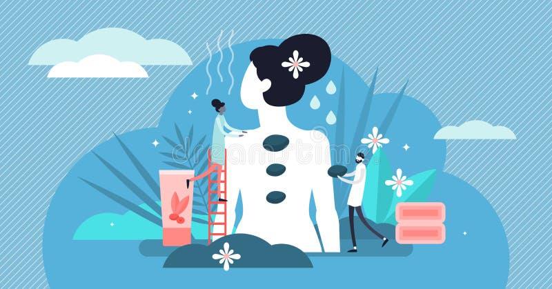 Ilustração do vetor da massagem Conceito minúsculo liso das pessoas da terapia de abrandamento ilustração royalty free