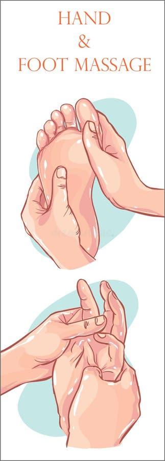 Ilustração do vetor da massagem da mão e da massagem do pé ilustração royalty free