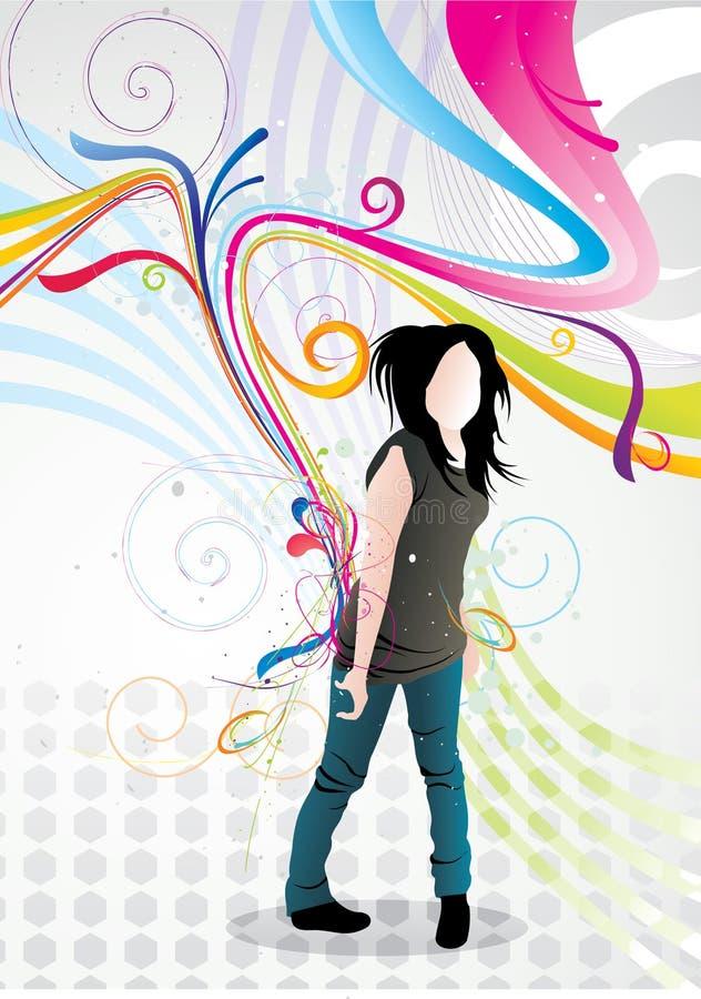 Ilustração do vetor da menina de Emo ilustração stock