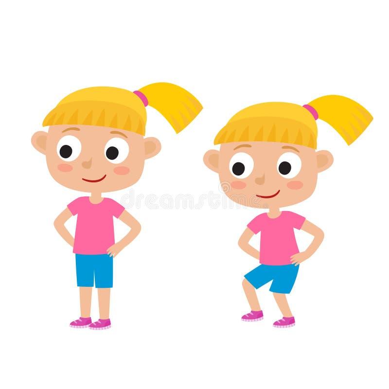 Ilustração do vetor da menina loura na pose do exercício isolada sobre ilustração do vetor