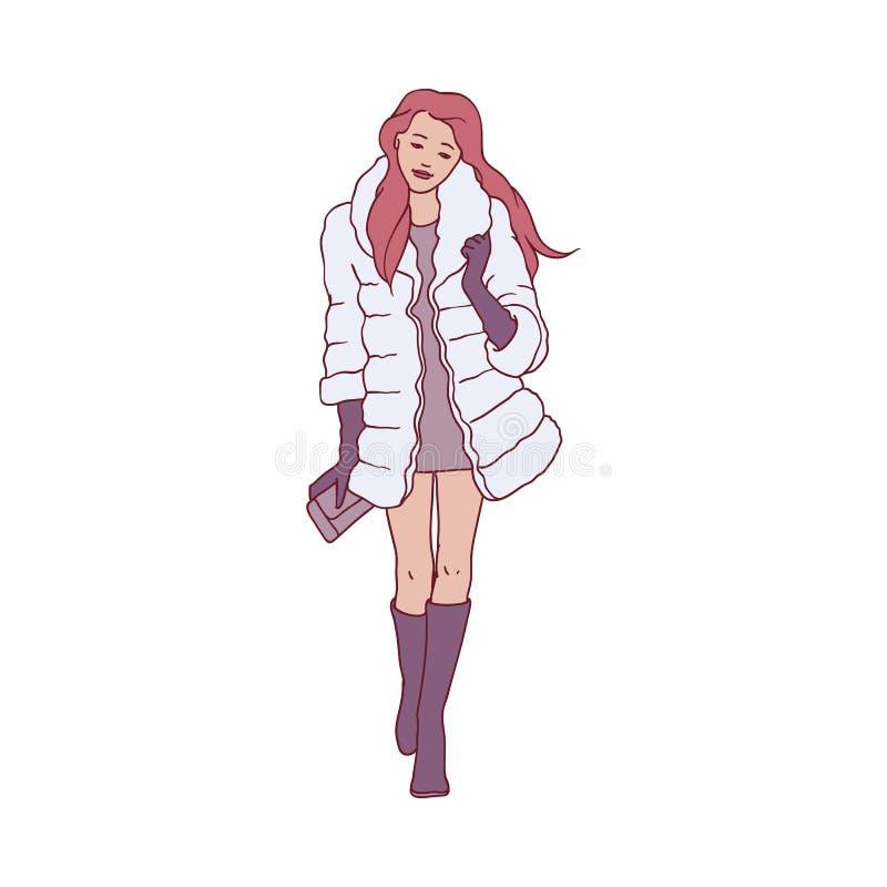 Ilustração do vetor da menina ruivo nova no casaco de pele que anda no tempo de inverno ilustração royalty free