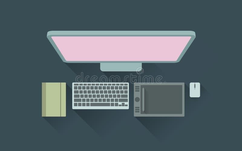 Ilustração do vetor da mesa de trabalho do desenhista ilustração stock