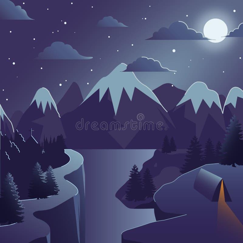 Ilustração do vetor da montanha do inverno com escaladas e rio ilustração stock