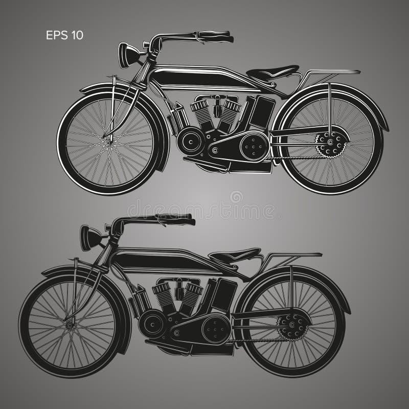 Ilustração do vetor da motocicleta do vintage Bicicleta retro velha Veículo motorizado da velha escola ilustração do vetor