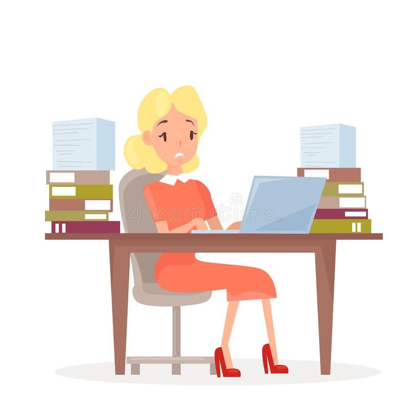 Ilustração do vetor da mulher de negócio de trabalho na mesa com portátil e no lote dos papéis Mulher no escritório no esforço ilustração do vetor
