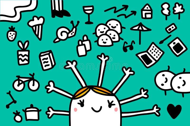 Ilustração do vetor da mulher e das muitas mãos na casa coocking do amor do portátil do ciclo de alimento da roupa das crianças d ilustração stock