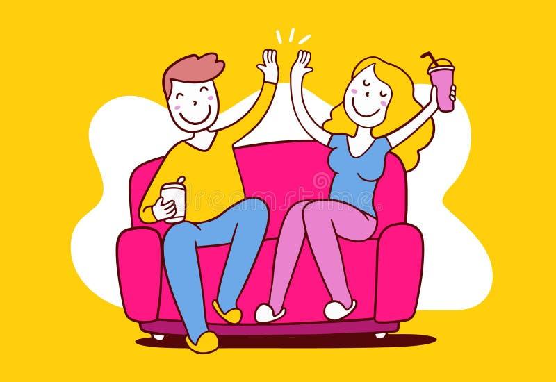 Ilustração do vetor da mulher feliz e do homem que sentam-se na elevação do sofá ilustração do vetor