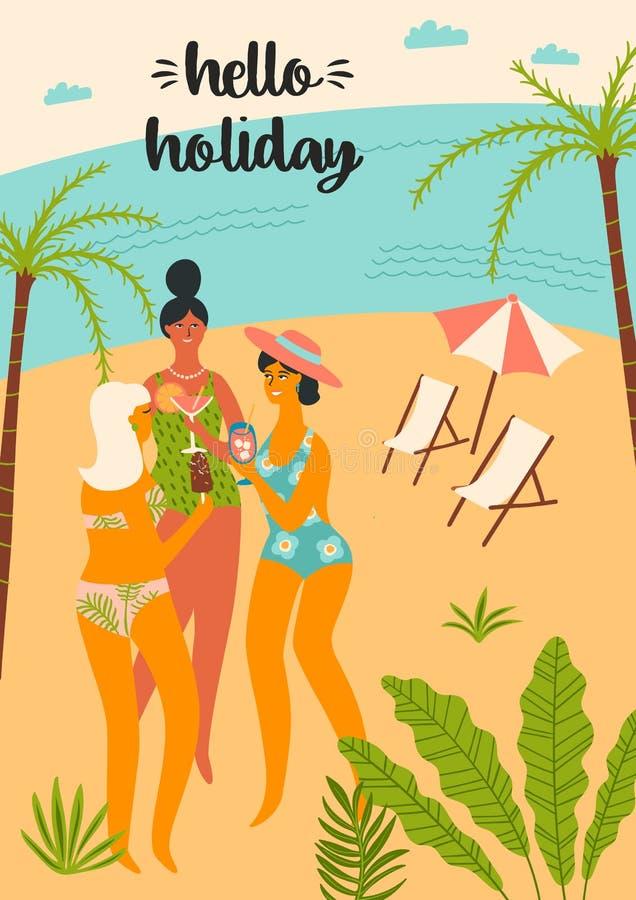 Ilustração do vetor da mulher no roupa de banho na praia tropical ilustração do vetor