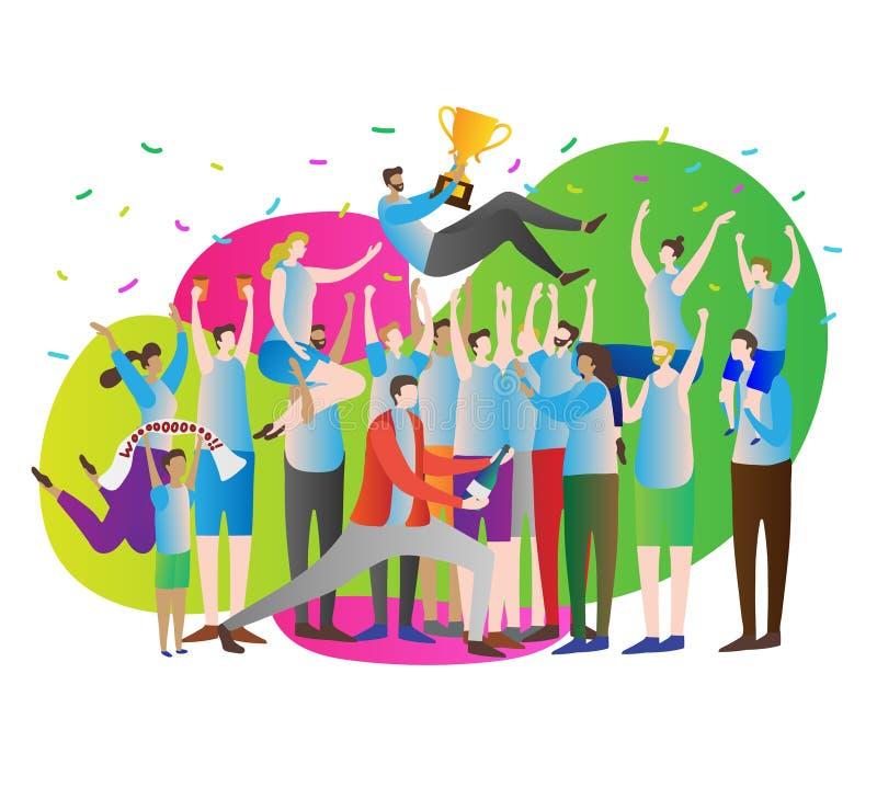 Ilustração do vetor da multidão da vitória Celebração e partido Líder do atleta com copo do ouro e fãs, suportes com mãos acima ilustração stock