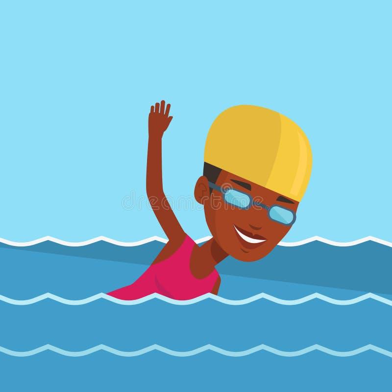 Ilustração do vetor da natação da mulher ilustração royalty free