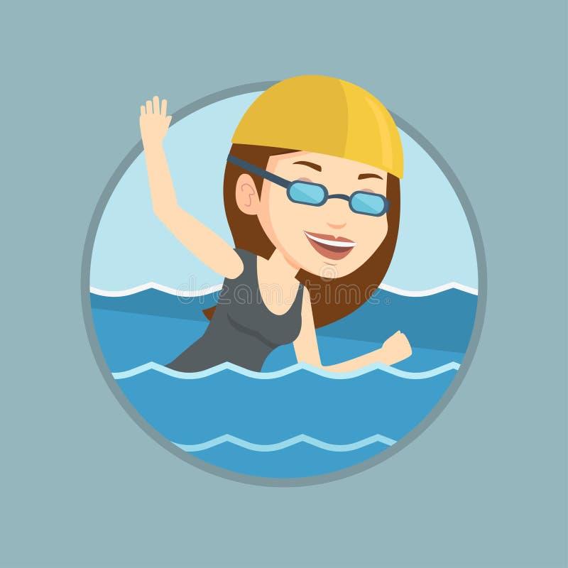 Ilustração do vetor da natação da mulher ilustração stock