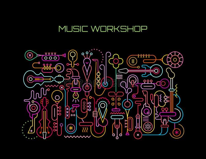 Ilustração do vetor da oficina da música ilustração stock