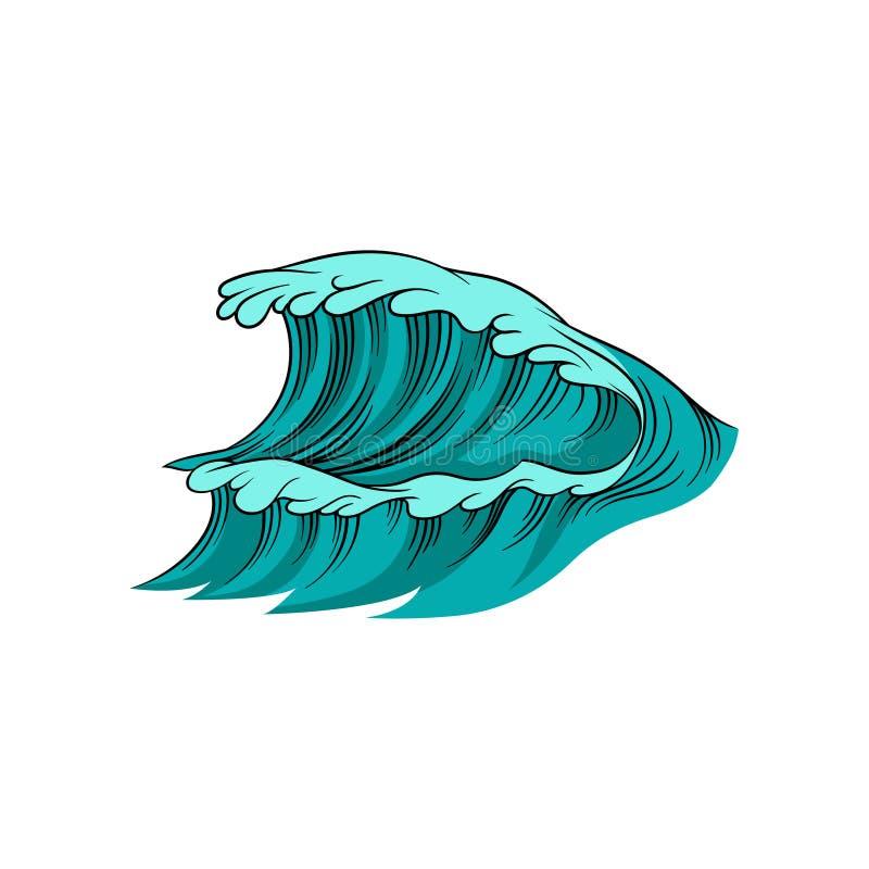 Ilustração do vetor da onda gigante com espuma Maré do mar alto Água azul do oceano Tema marinho Elemento para o cartaz, crianças ilustração royalty free