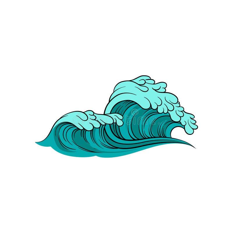 Ilustração do vetor da onda tormentoso do mar com espuma Água azul do oceano Tema marinho Elemento para o cartaz de surfar ilustração stock