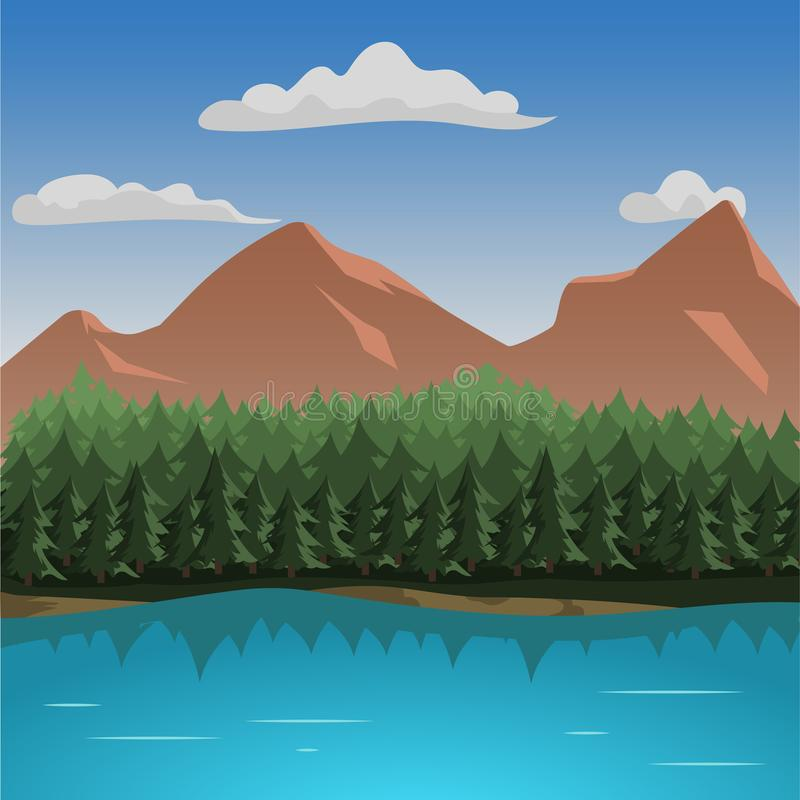 Ilustração do vetor da opinião aérea das montanhas Paisagem da montanha com lago ilustração stock
