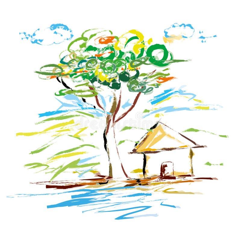 Ilustração do vetor da pintura da arte da árvore da casa da natureza ilustração stock